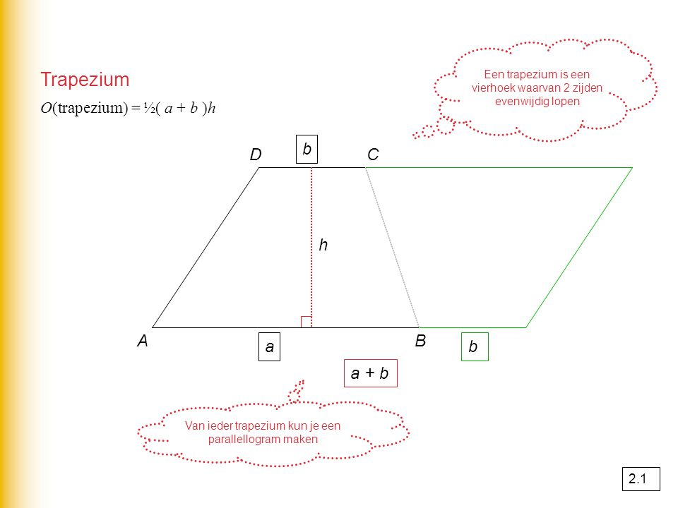 Trapezium b D C h A B a b a + b O(trapezium) = ½( a + b )h 2.1