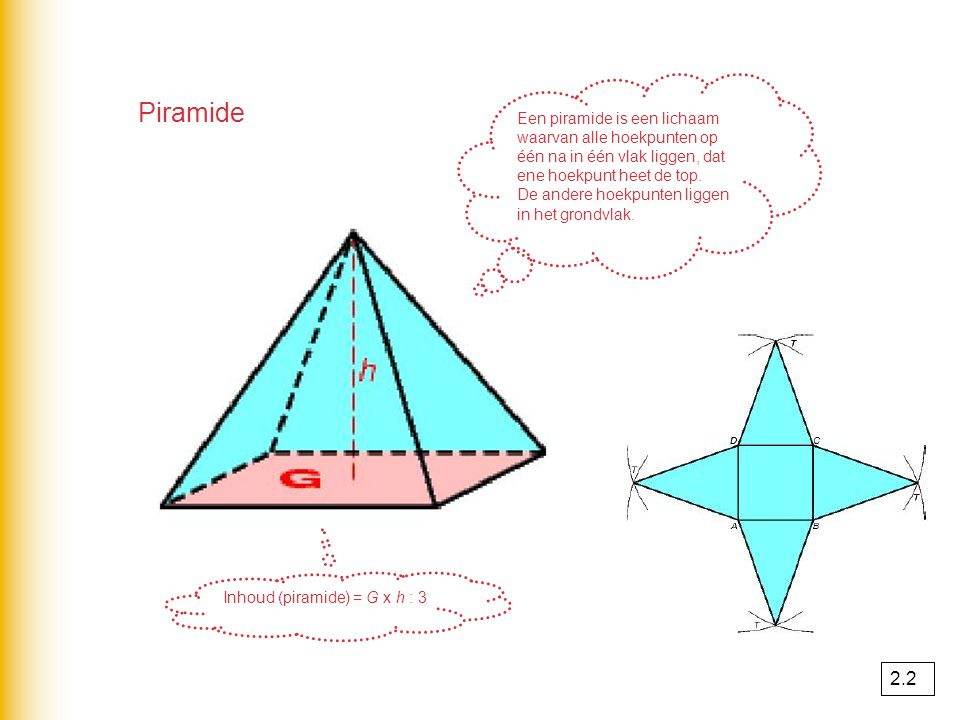 Inhoud (piramide) = G x h : 3
