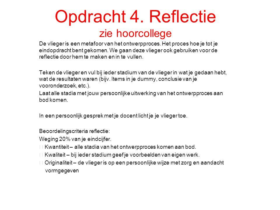 Opdracht 4. Reflectie zie hoorcollege