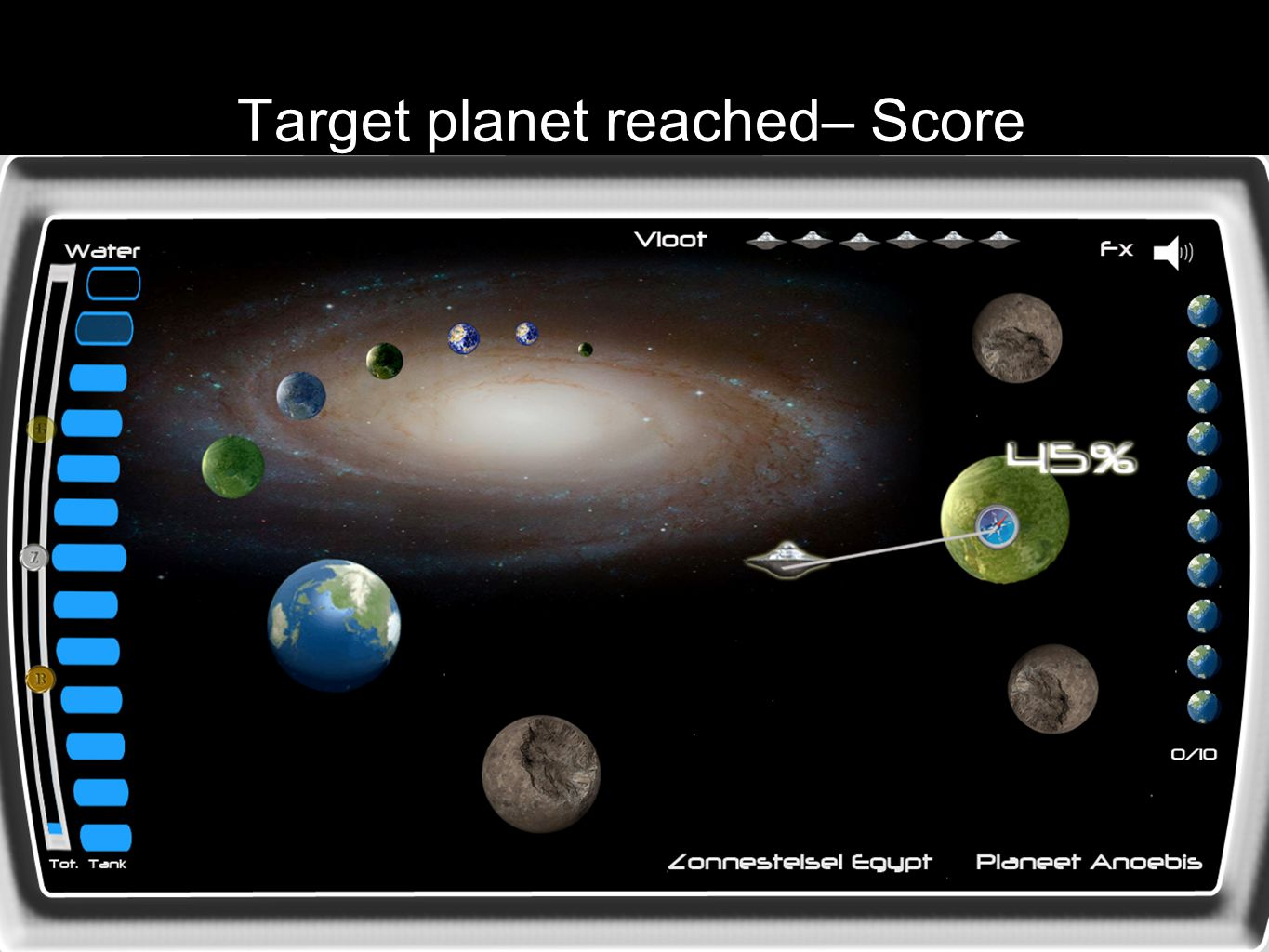 Target planet reached– Score