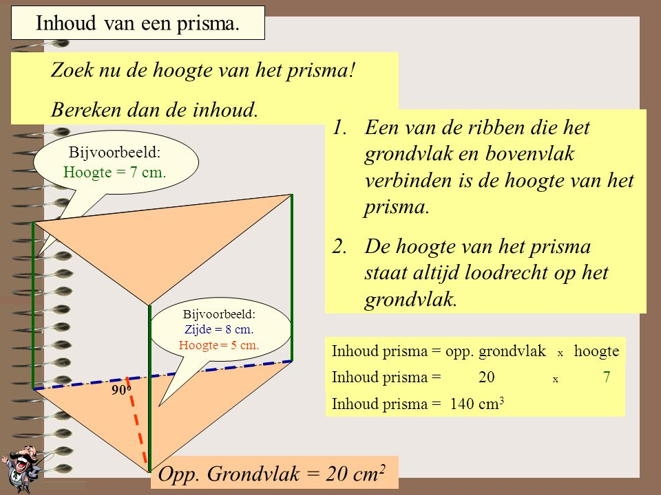 Inhoud prisma = opp. grondvlak x hoogte