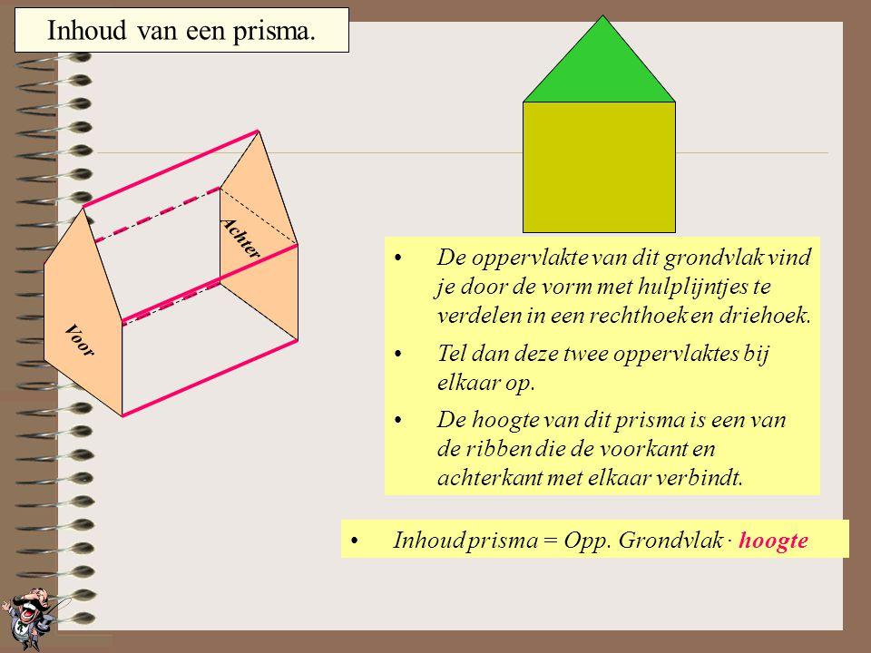 Inhoud van een prisma. Achter. De oppervlakte van dit grondvlak vind je door de vorm met hulplijntjes te verdelen in een rechthoek en driehoek.