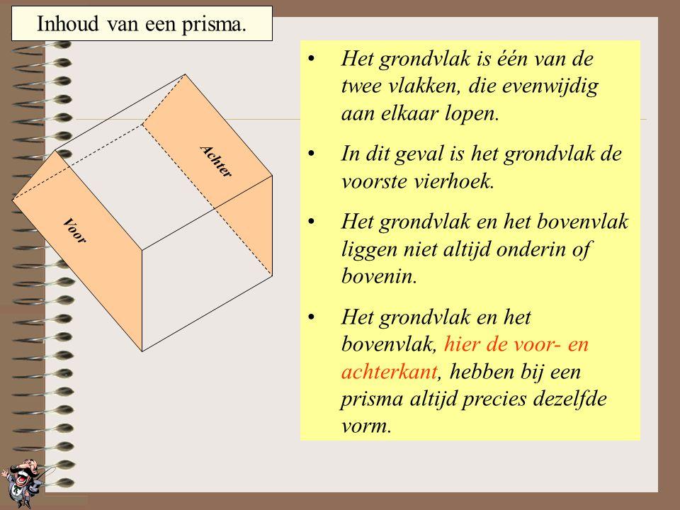 In dit geval is het grondvlak de voorste vierhoek.