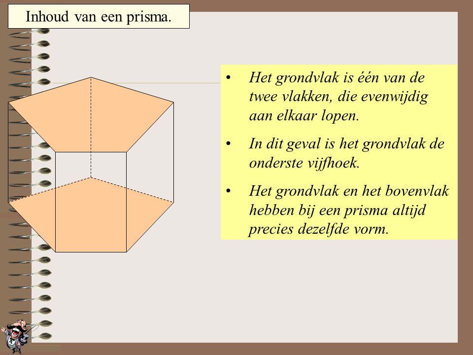 Inhoud van een prisma. Het grondvlak is één van de twee vlakken, die evenwijdig aan elkaar lopen.