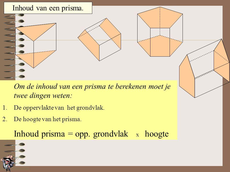 Om de inhoud van een prisma te berekenen moet je twee dingen weten: