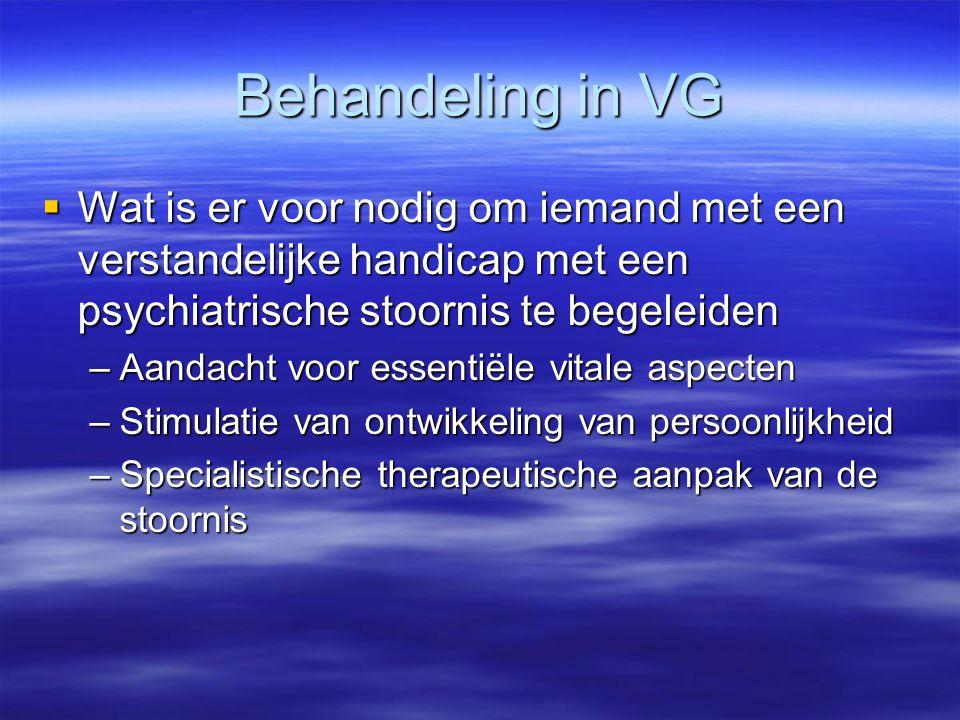 Behandeling in VG Wat is er voor nodig om iemand met een verstandelijke handicap met een psychiatrische stoornis te begeleiden.