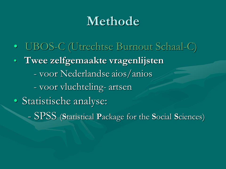 Methode UBOS-C (Utrechtse Burnout Schaal-C) Statistische analyse: