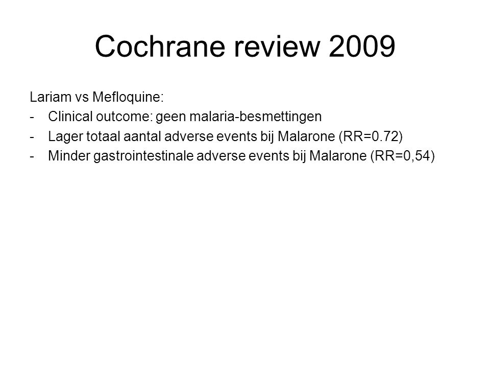 Cochrane review 2009 Lariam vs Mefloquine:
