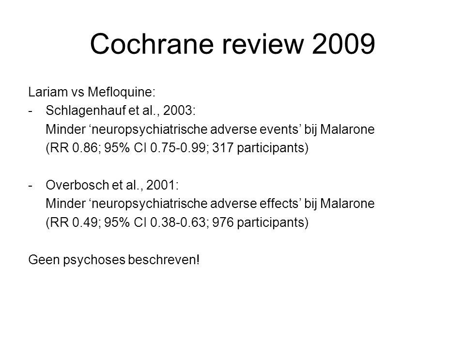 Cochrane review 2009 Lariam vs Mefloquine: Schlagenhauf et al., 2003: