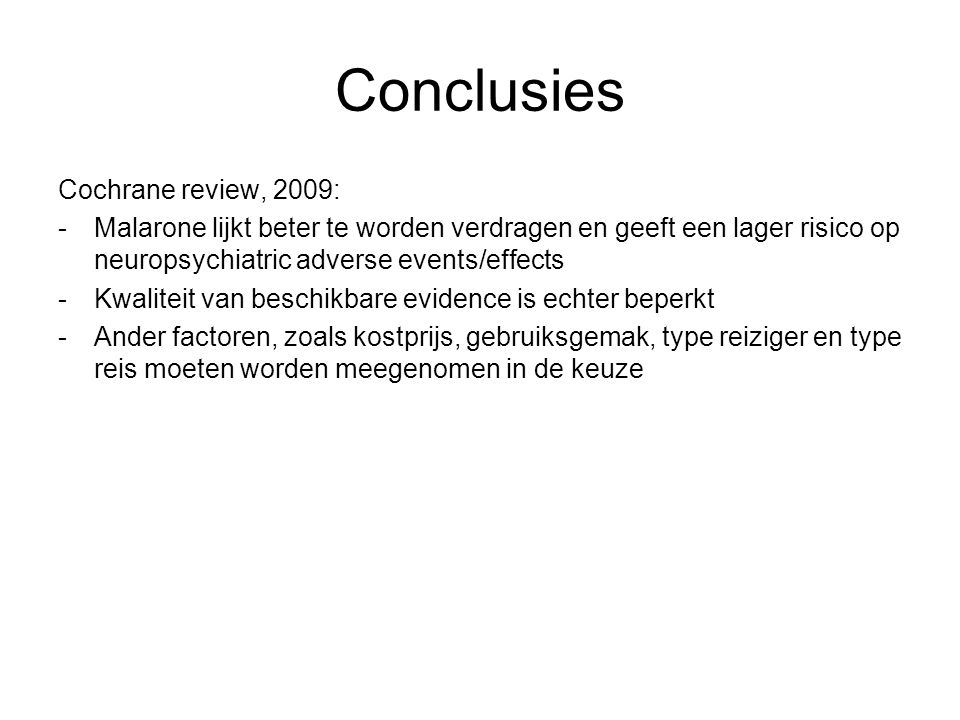 Conclusies Cochrane review, 2009: