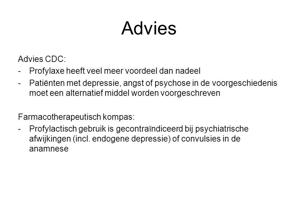 Advies Advies CDC: - Profylaxe heeft veel meer voordeel dan nadeel
