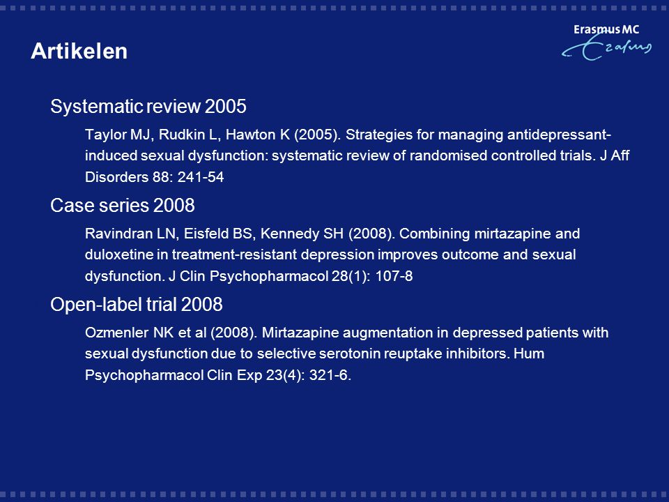 Artikelen Systematic review 2005 Case series 2008