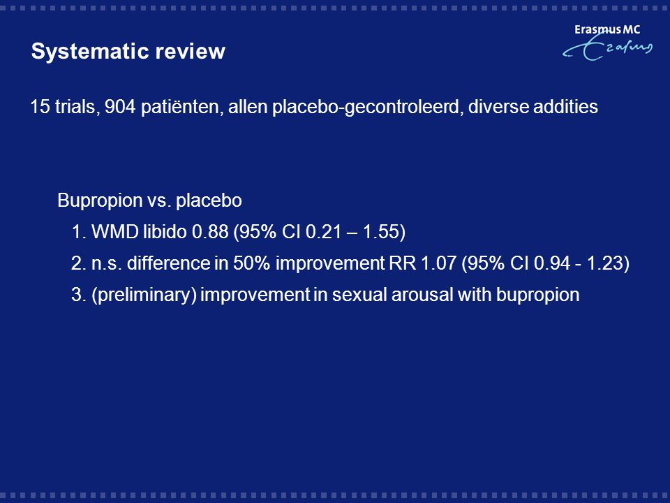 Systematic review 15 trials, 904 patiënten, allen placebo-gecontroleerd, diverse addities. Bupropion vs. placebo.