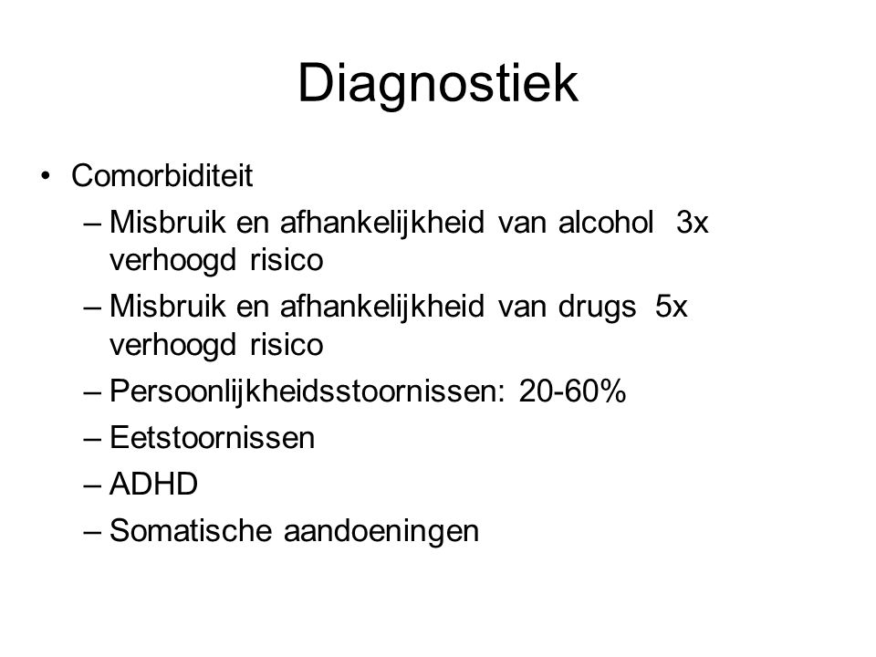 Diagnostiek Comorbiditeit