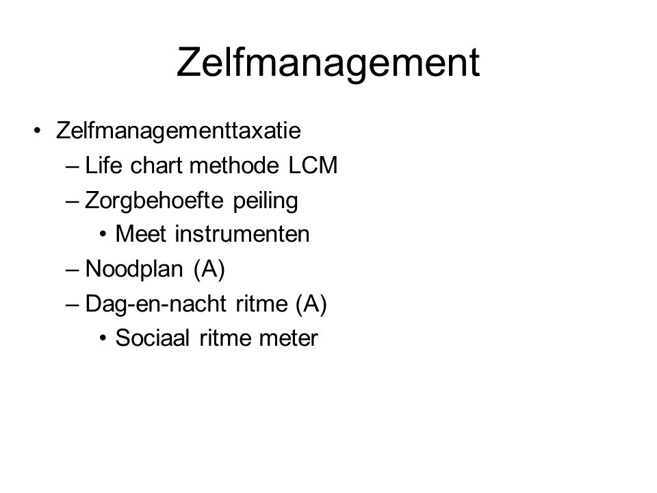 Zelfmanagement Zelfmanagementtaxatie Life chart methode LCM