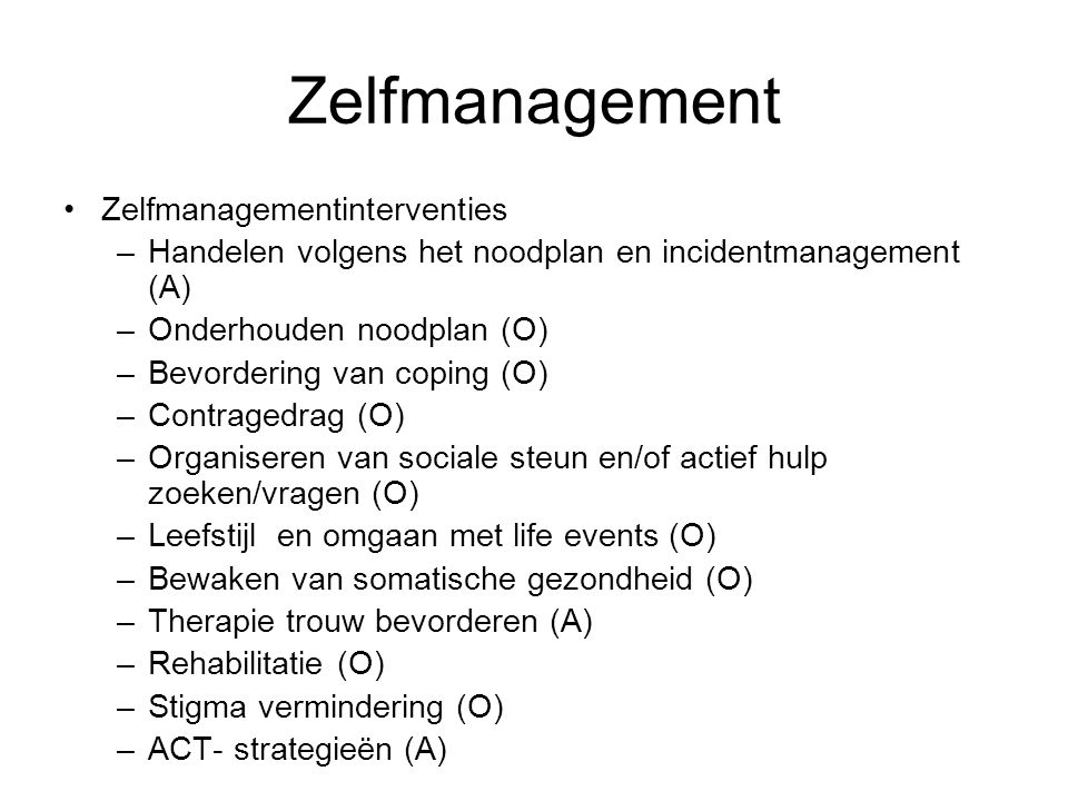 Zelfmanagement Zelfmanagementinterventies