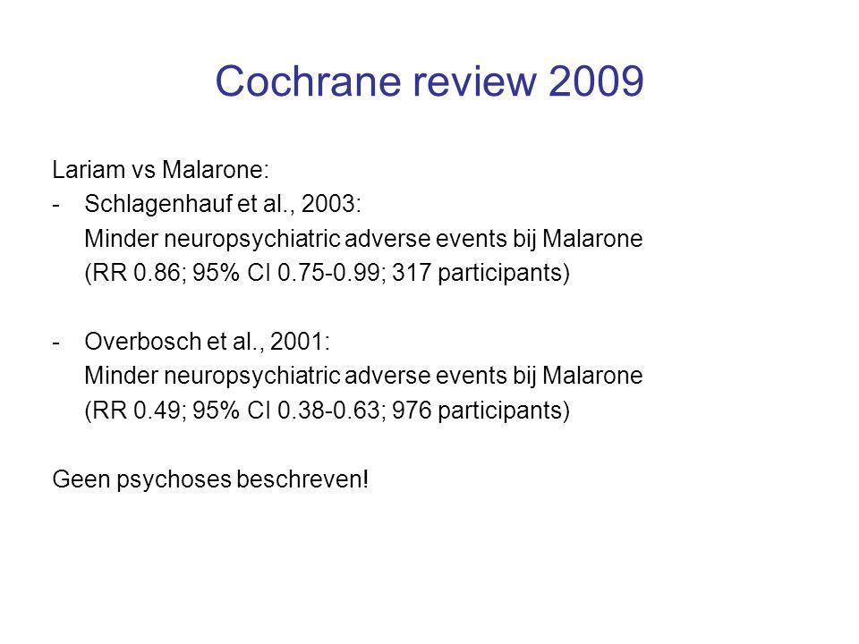 Cochrane review 2009 Lariam vs Malarone: Schlagenhauf et al., 2003: