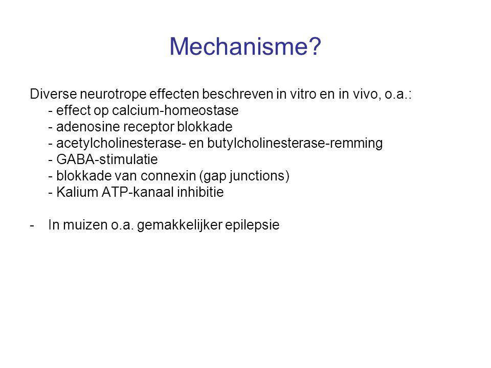 Mechanisme Diverse neurotrope effecten beschreven in vitro en in vivo, o.a.: - effect op calcium-homeostase.