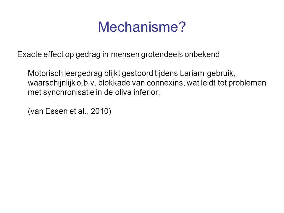 Mechanisme Exacte effect op gedrag in mensen grotendeels onbekend