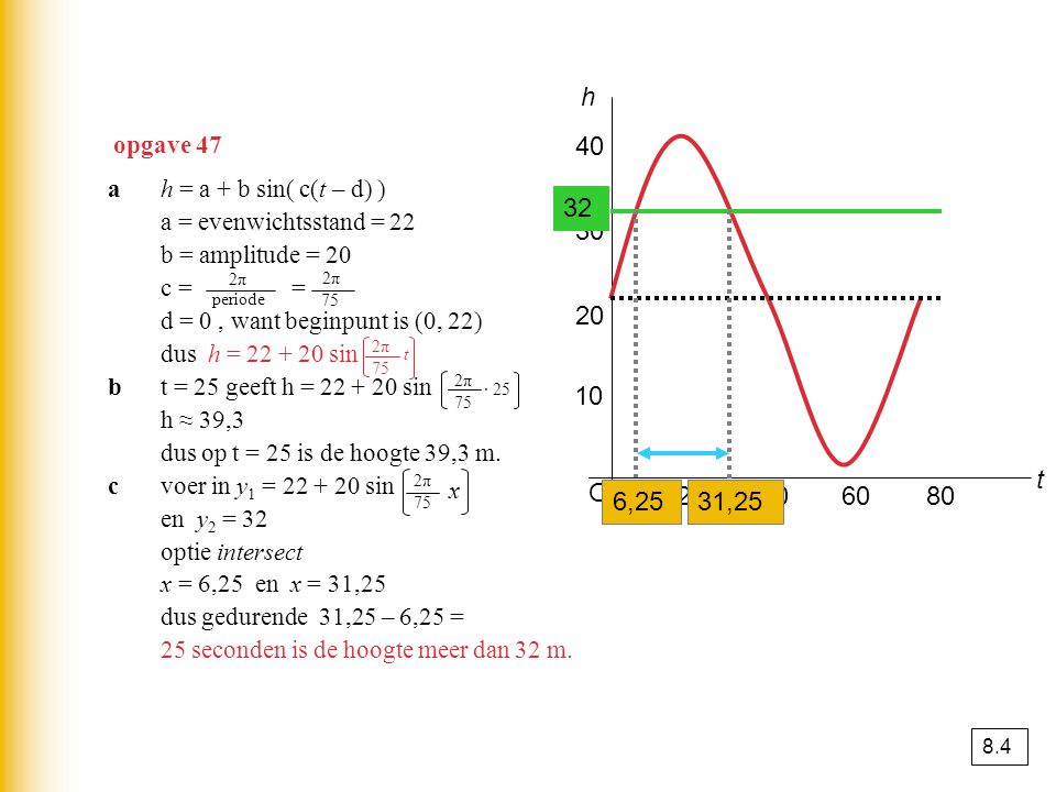h opgave 47. 40. a h = a + b sin( c(t – d) ) a = evenwichtsstand = 22. b = amplitude = 20. c = =