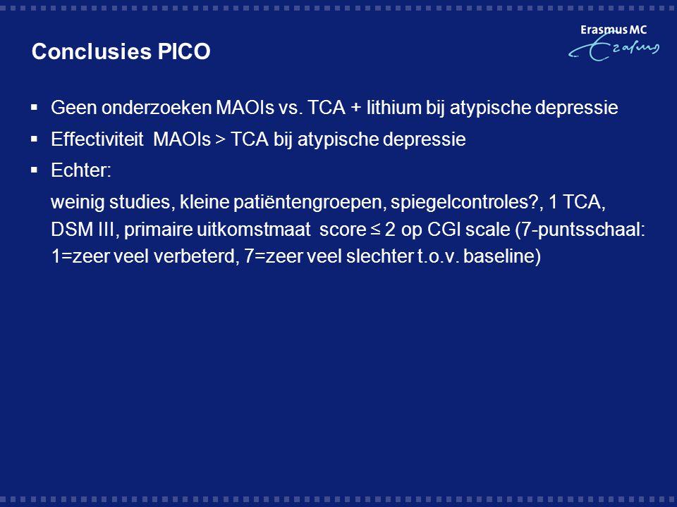 Conclusies PICO Geen onderzoeken MAOIs vs. TCA + lithium bij atypische depressie. Effectiviteit MAOIs > TCA bij atypische depressie.