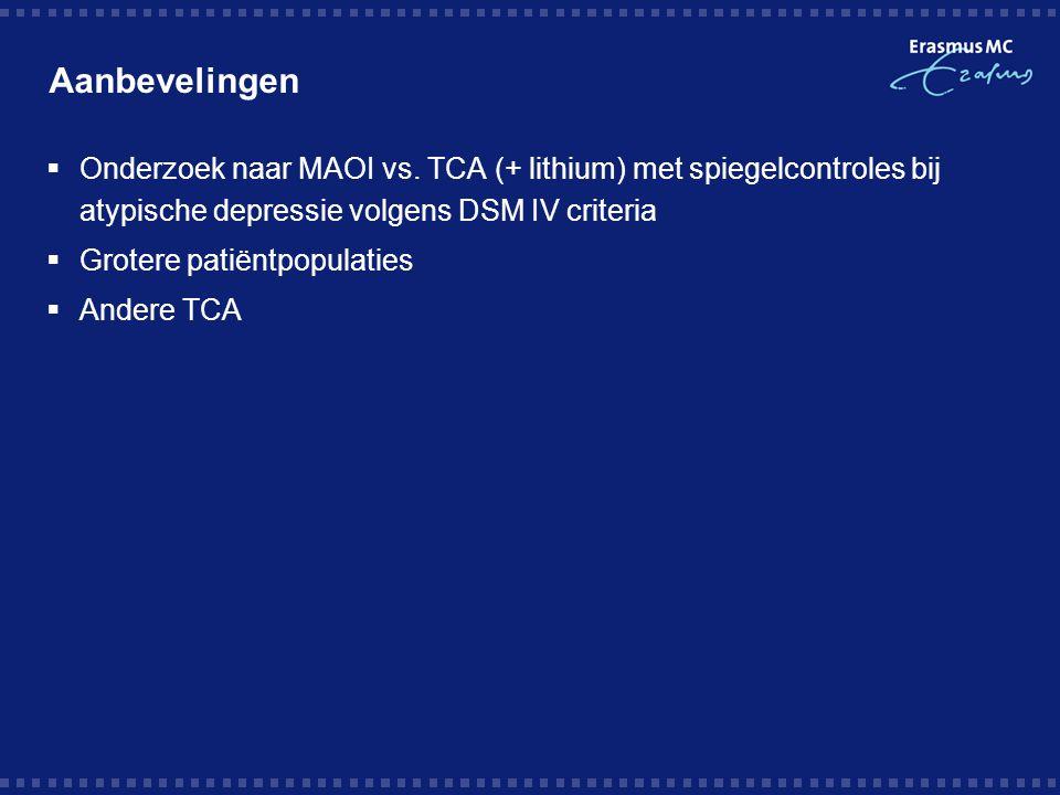 Aanbevelingen Onderzoek naar MAOI vs. TCA (+ lithium) met spiegelcontroles bij atypische depressie volgens DSM IV criteria.
