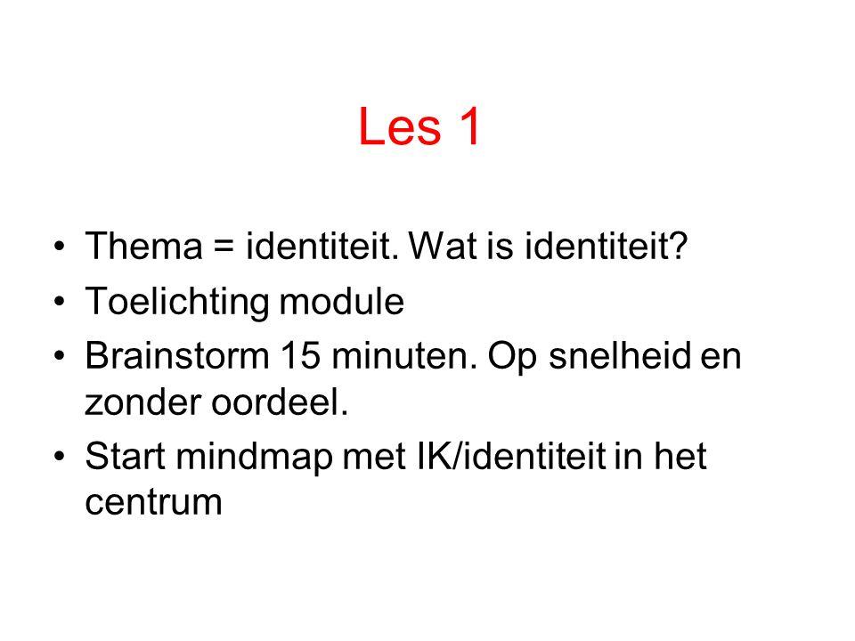 Les 1 Thema = identiteit. Wat is identiteit Toelichting module