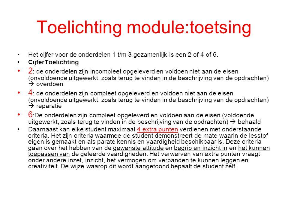 Toelichting module:toetsing