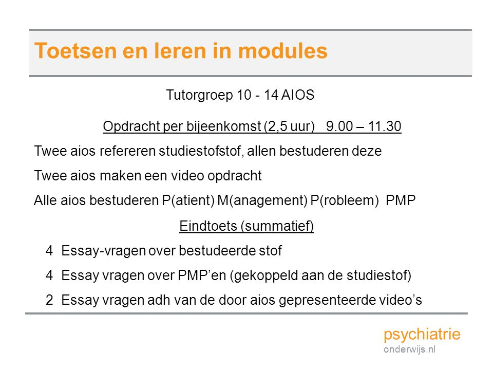 Toetsen en leren in modules