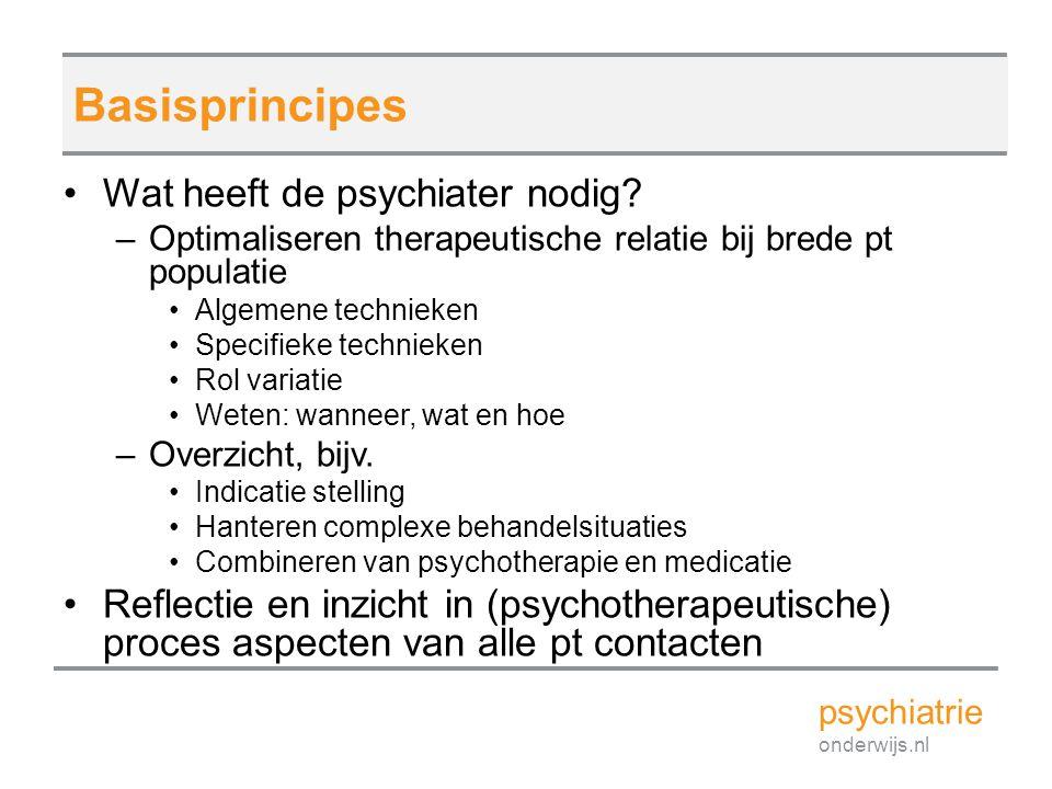 Basisprincipes Wat heeft de psychiater nodig