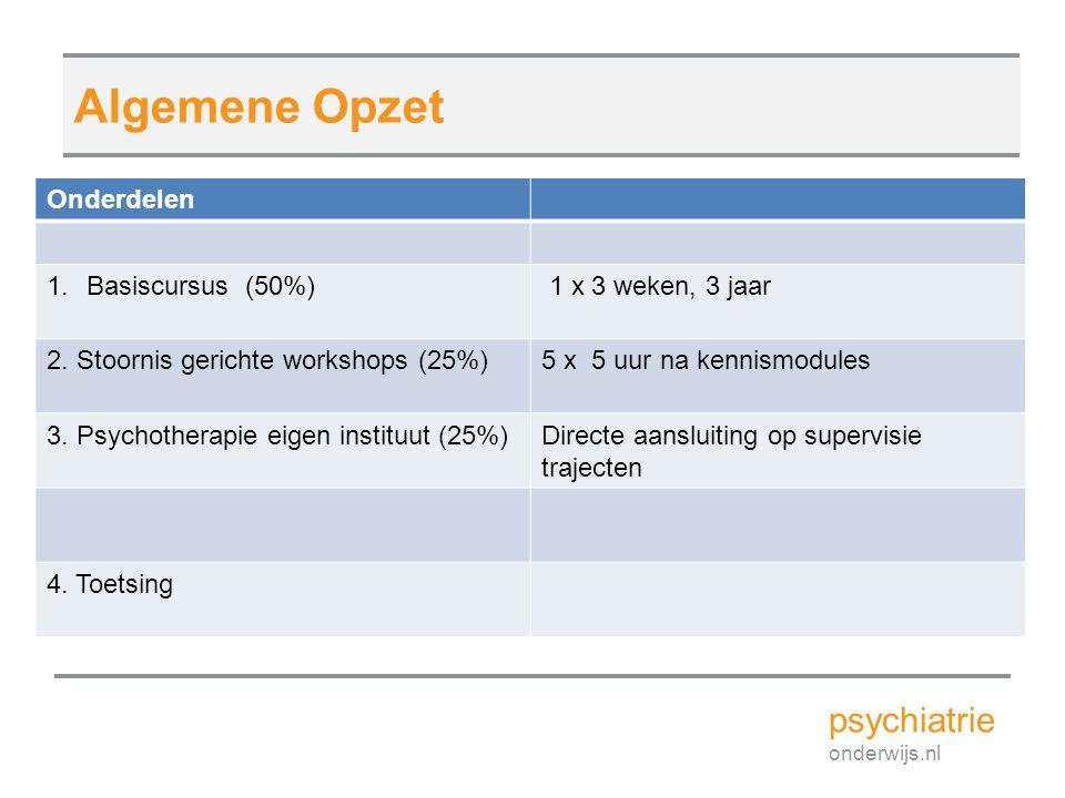 Algemene Opzet psychiatrie Onderdelen Basiscursus (50%)