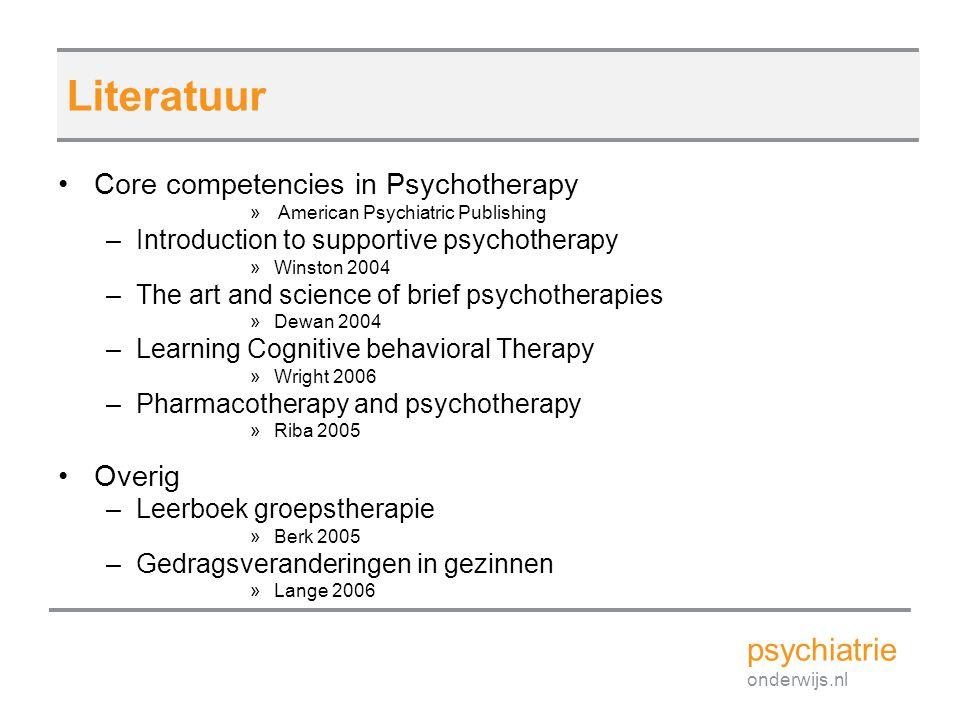 Literatuur psychiatrie Core competencies in Psychotherapy Overig