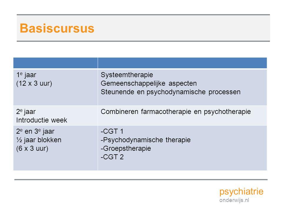 Basiscursus psychiatrie 1e jaar (12 x 3 uur) Systeemtherapie