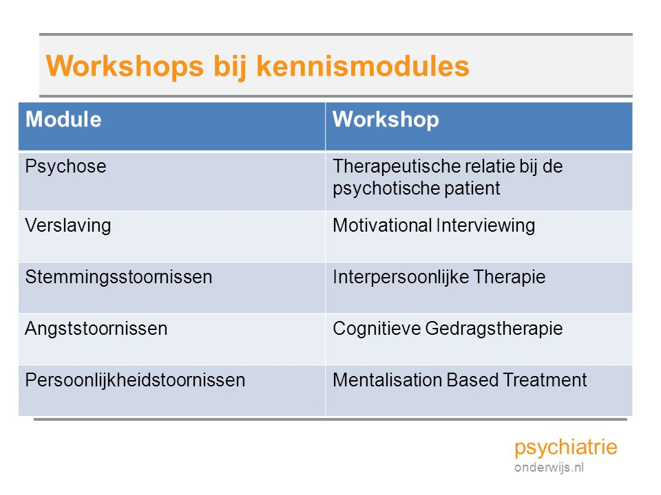 Workshops bij kennismodules