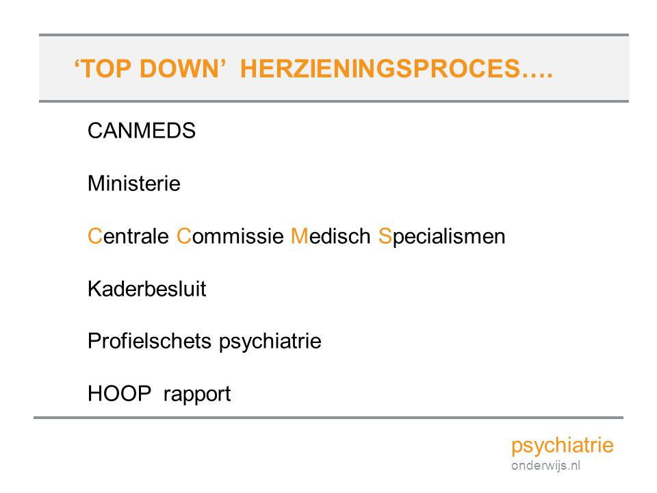 'TOP DOWN' HERZIENINGSPROCES….