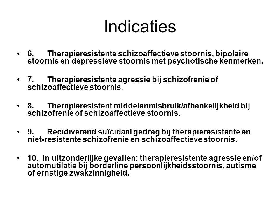 Indicaties 6. Therapieresistente schizoaffectieve stoornis, bipolaire stoornis en depressieve stoornis met psychotische kenmerken.