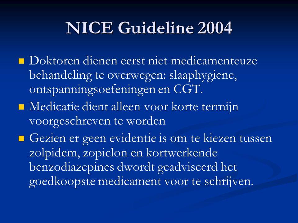 NICE Guideline 2004 Doktoren dienen eerst niet medicamenteuze behandeling te overwegen: slaaphygiene, ontspanningsoefeningen en CGT.