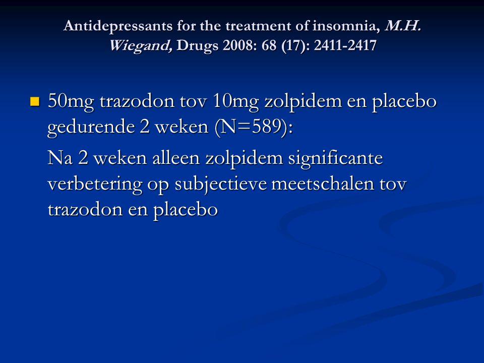 50mg trazodon tov 10mg zolpidem en placebo gedurende 2 weken (N=589):