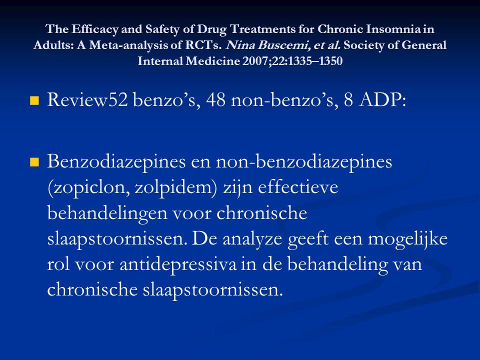 Review52 benzo's, 48 non-benzo's, 8 ADP: