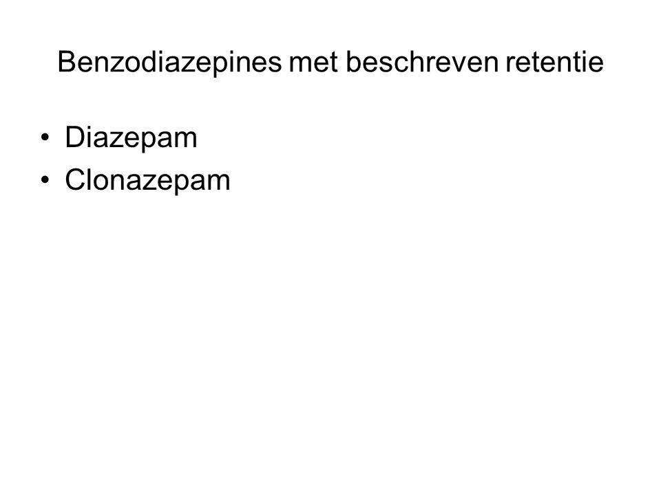 Benzodiazepines met beschreven retentie