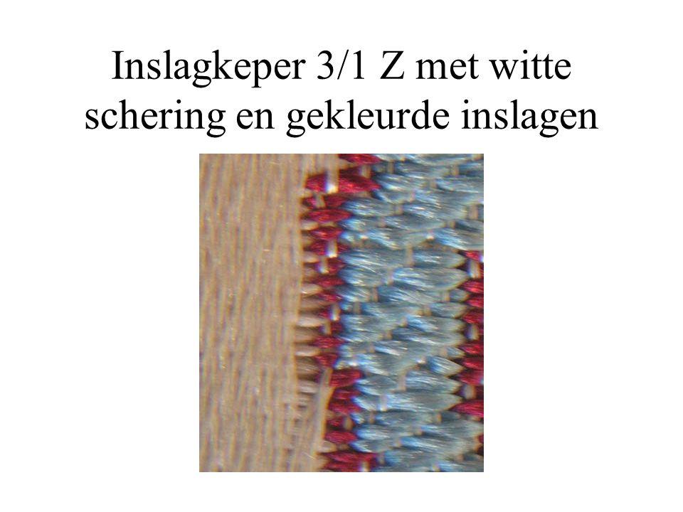 Inslagkeper 3/1 Z met witte schering en gekleurde inslagen