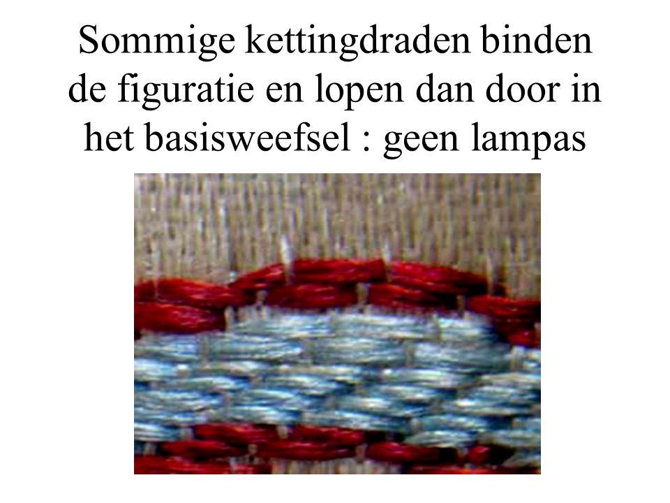 Sommige kettingdraden binden de figuratie en lopen dan door in het basisweefsel : geen lampas