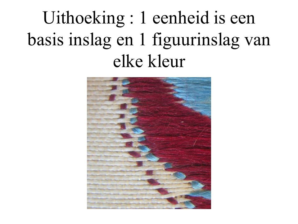 Uithoeking : 1 eenheid is een basis inslag en 1 figuurinslag van elke kleur