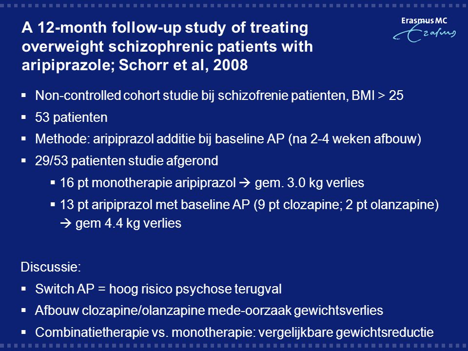 A 12-month follow-up study of treating overweight schizophrenic patients with aripiprazole; Schorr et al, 2008