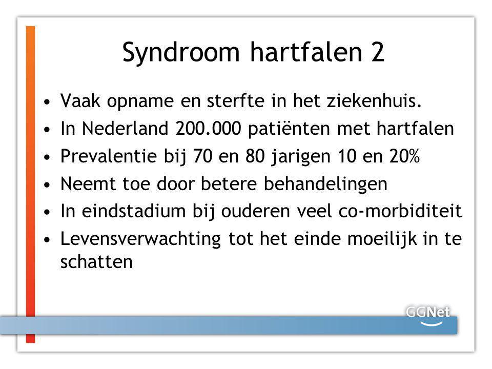 Syndroom hartfalen 2 Vaak opname en sterfte in het ziekenhuis.