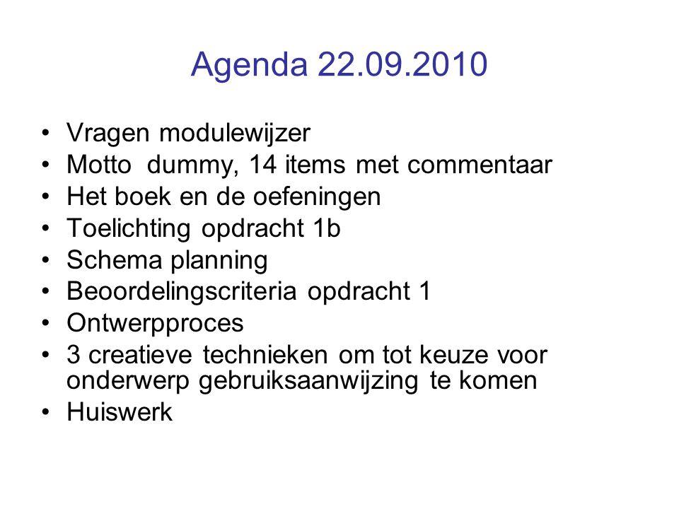 Agenda 22.09.2010 Vragen modulewijzer