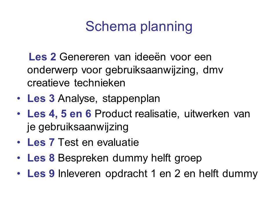 Schema planning Les 2 Genereren van ideeën voor een onderwerp voor gebruiksaanwijzing, dmv creatieve technieken.