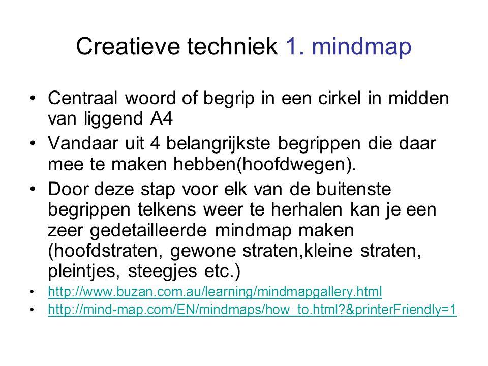 Creatieve techniek 1. mindmap