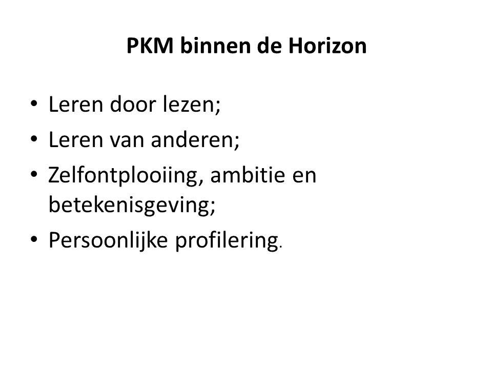 PKM binnen de Horizon Leren door lezen; Leren van anderen; Zelfontplooiing, ambitie en betekenisgeving;