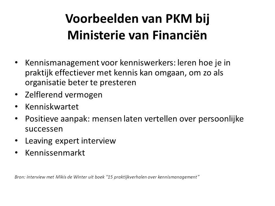 Voorbeelden van PKM bij Ministerie van Financiën